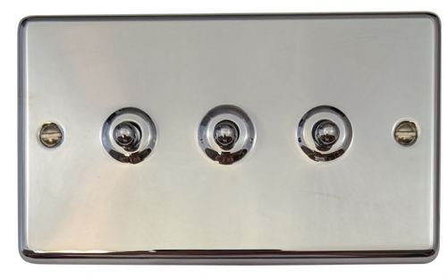 G&H CC283 Standard Plate Polished Chrome 3 Gang 1 or 2 Way Toggle Light Switch